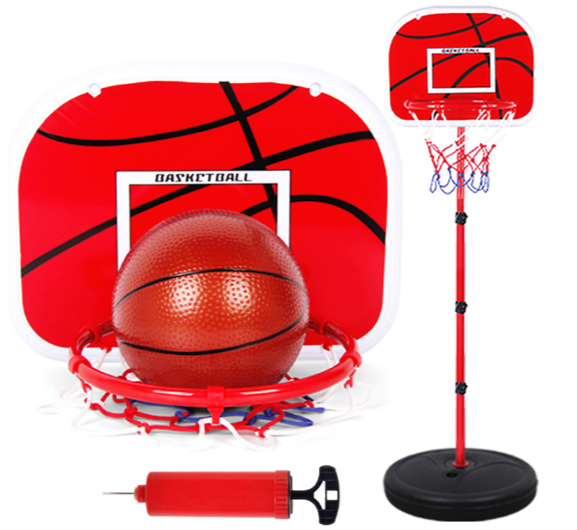 Basketball Hoop Set red pole inserted into black base plate