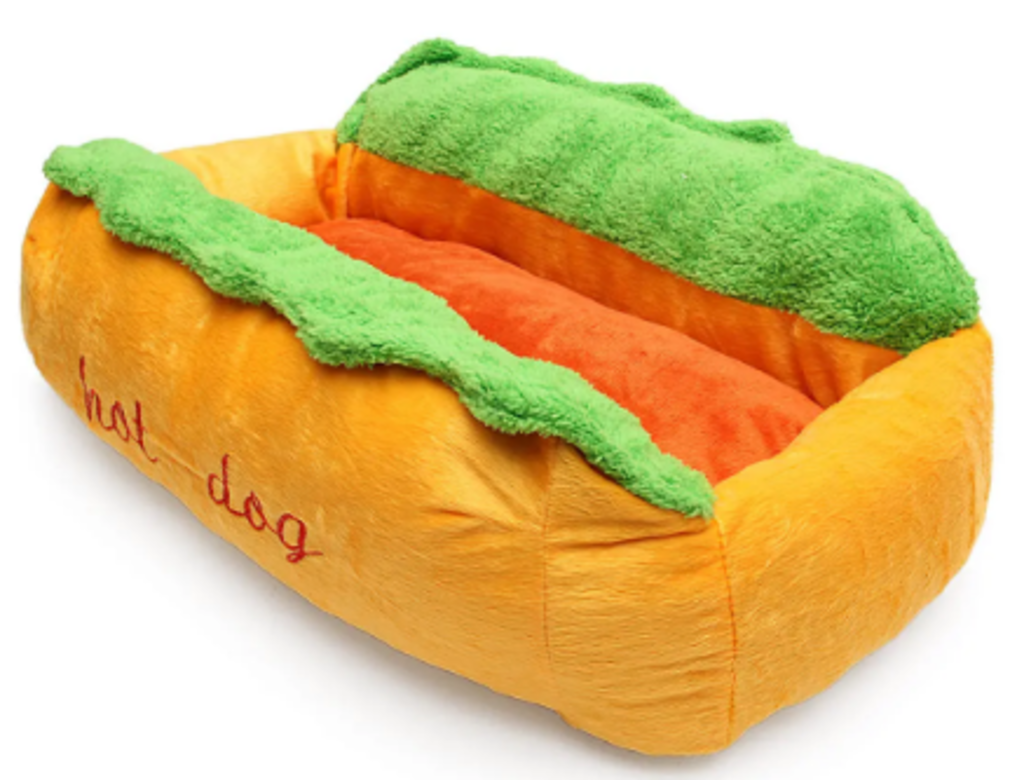 Calming bed hot dog bun shape red. green, yellow.png