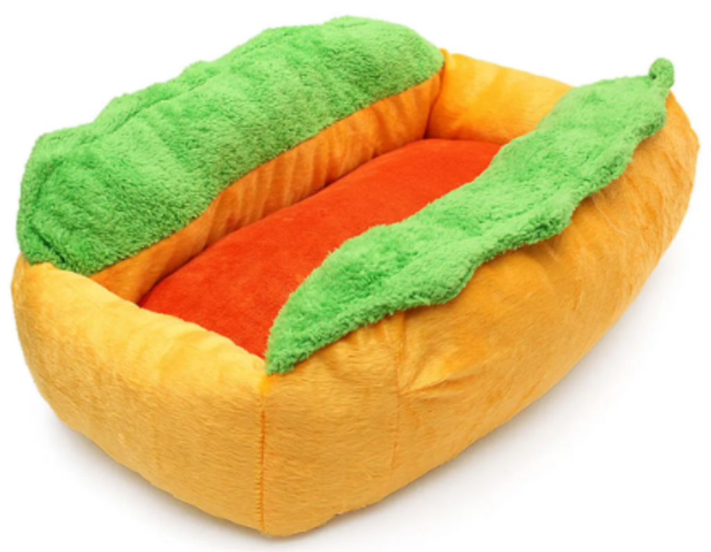 Calming dog bed hot dog bun design.png