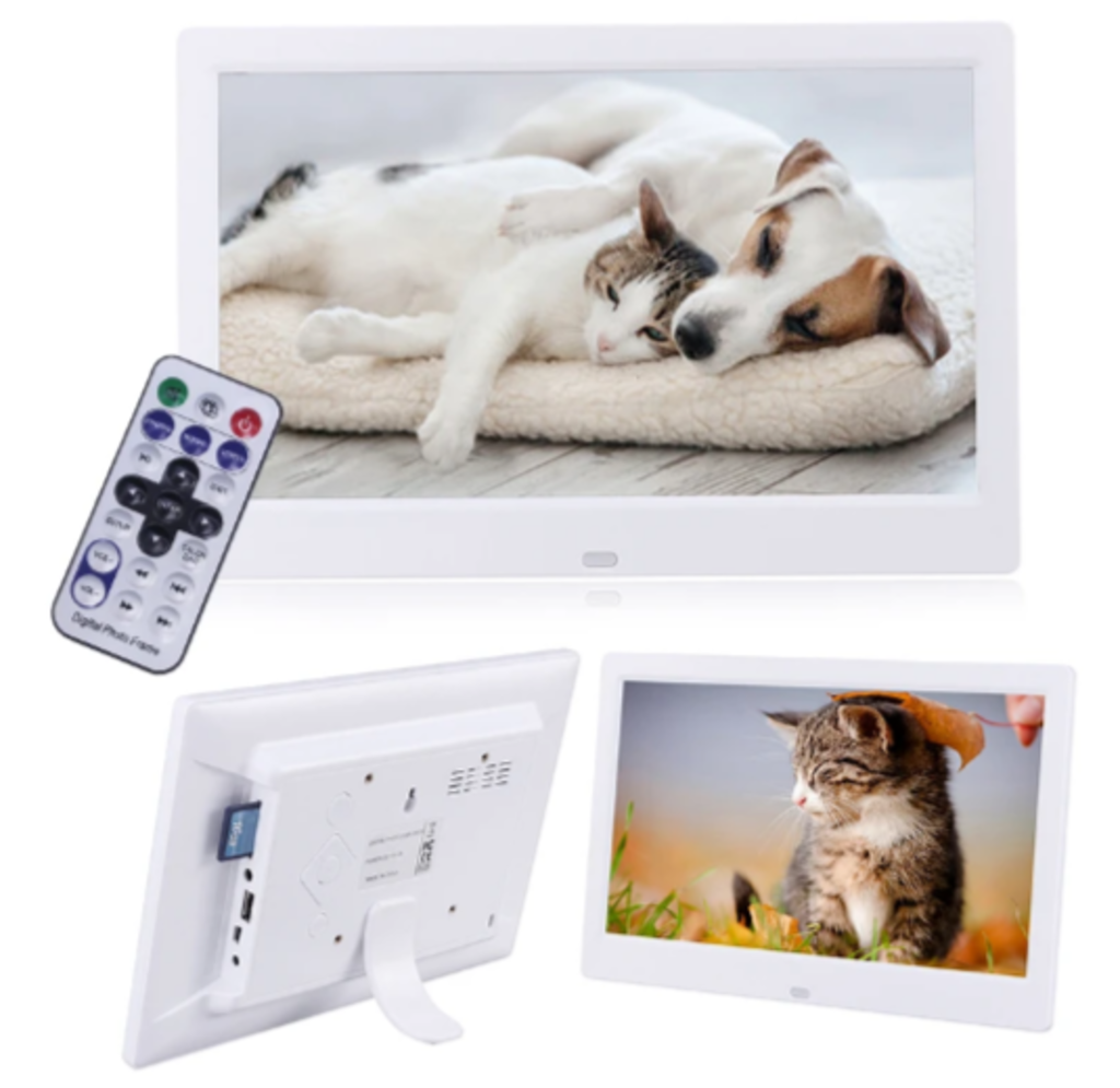 Remote and 3 white digital frames: backside, photo of kitty outdoors, photo of kitty and dog asleep on white cushion