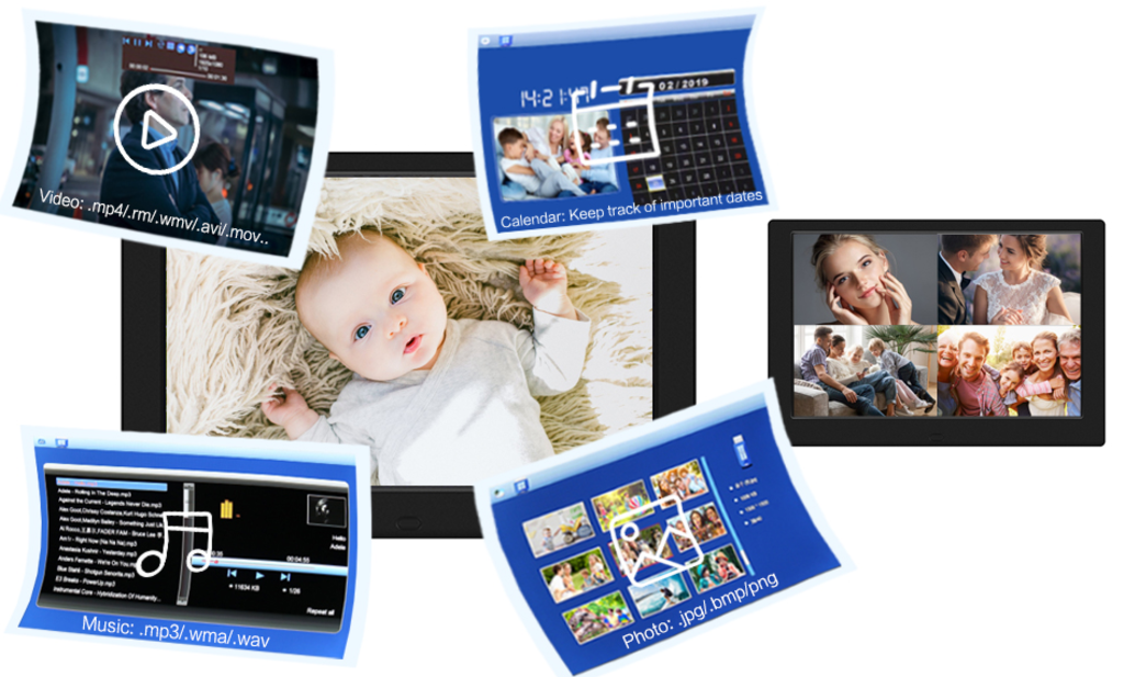 Black digital frame with photo of infant looking directly, frame showing 4 photos; 4 snapshots indicating video, music, slideshow, audio