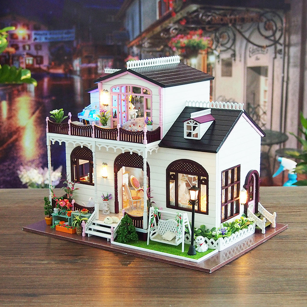 Bowness Town Miniature Wooden DIY DollHouse With Furniture And Lights