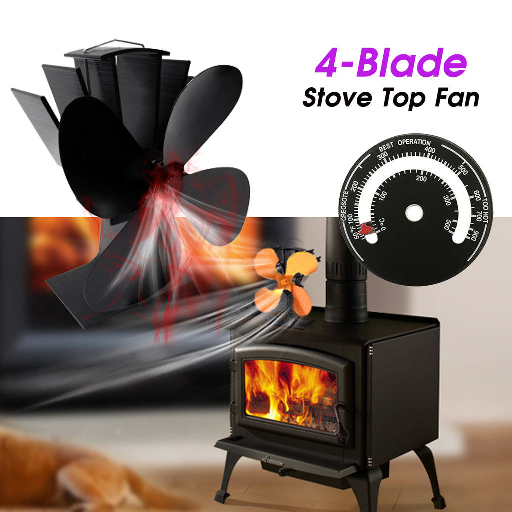 """4-Blade stove Top Fan"" features fan whisking air atop stove & thermometer in home setting"
