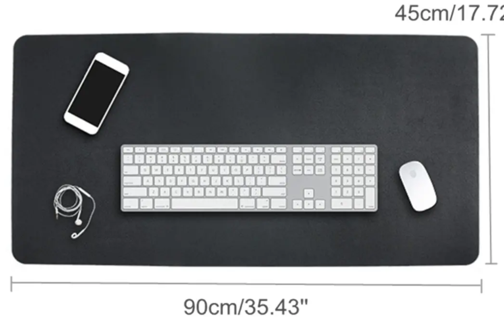 Mouse pad with keyboard, mouse, cell phone, ear buds and room to spare: 31.5 in. x 15.75 in.