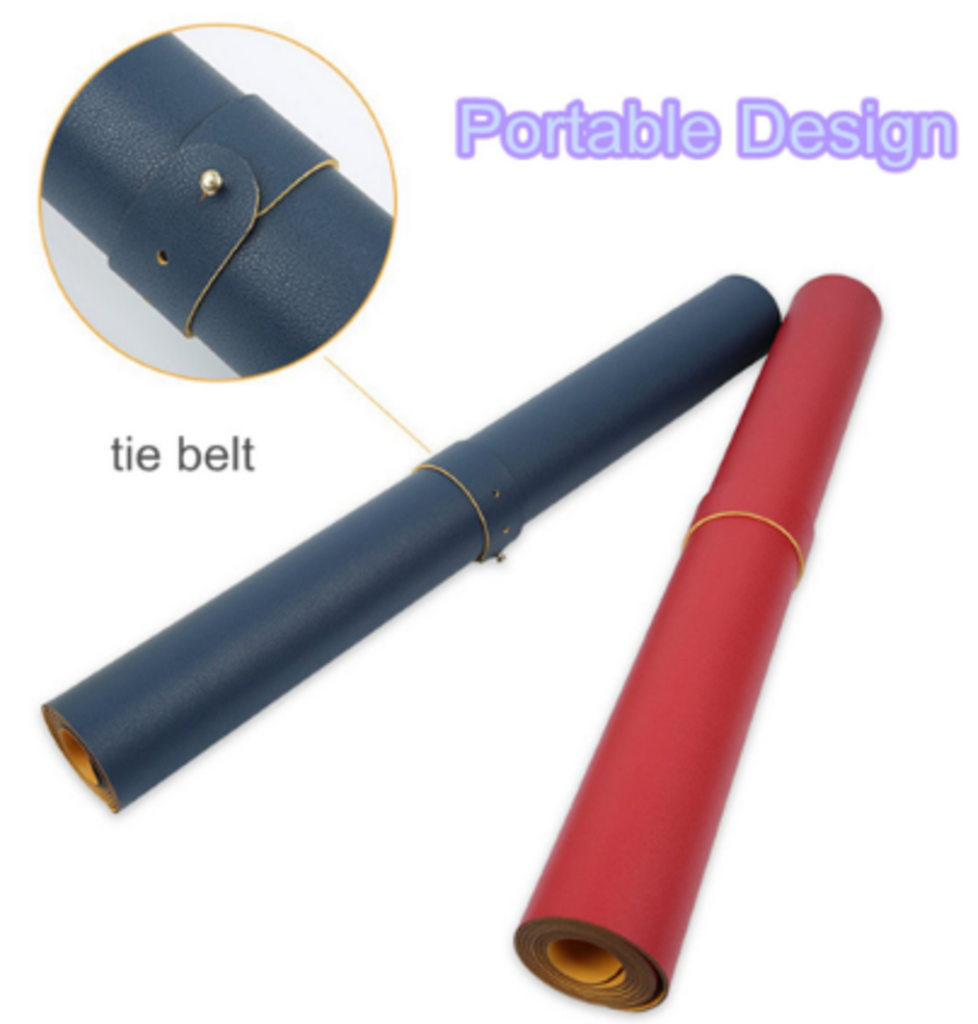 Close-up of tie belt and ties on rolled red and blue mouse pad desk pads