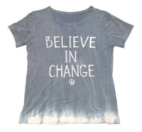 "Grey ""Believe in Change"" Organic Boys Shirt"
