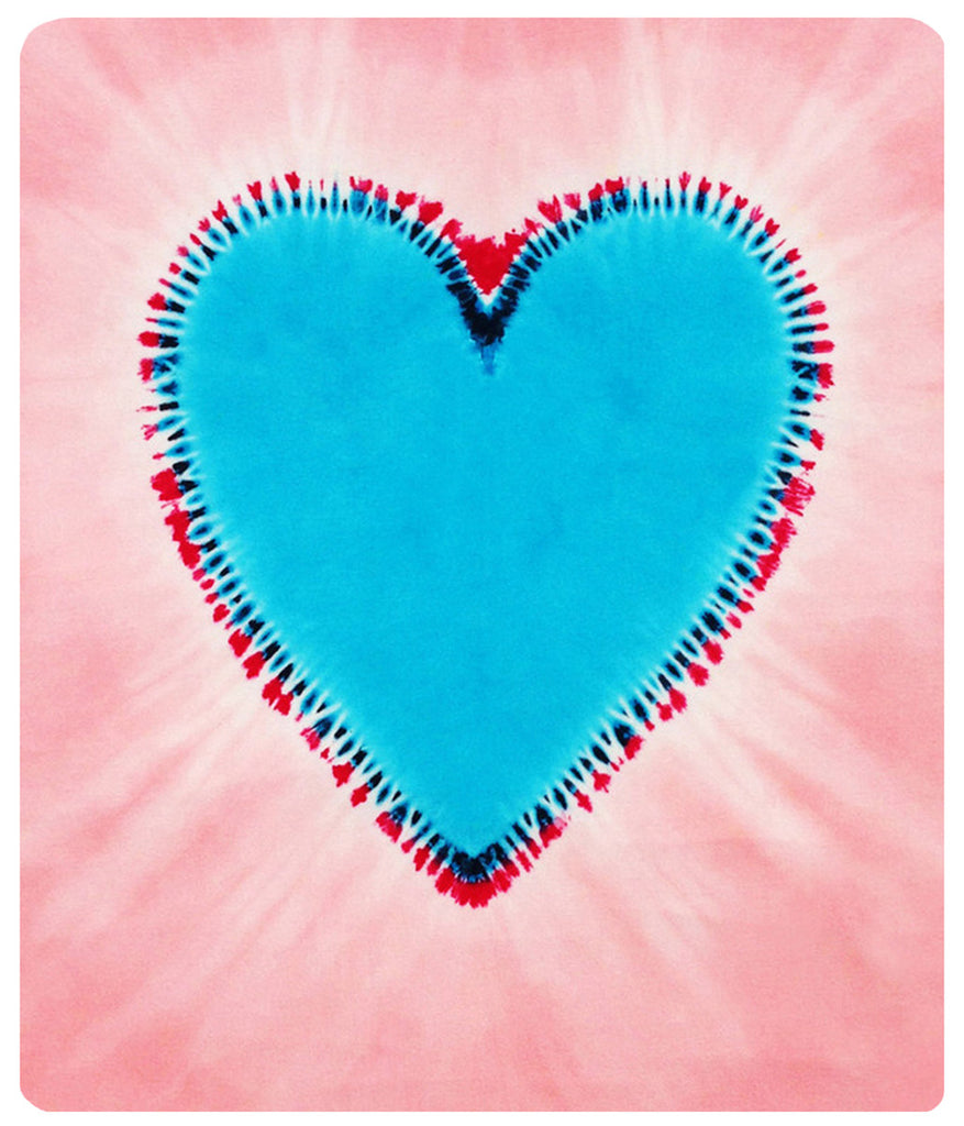 Pink with Turquoise Heart Bamboo Baby mini throw