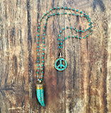 HORN PENDANT  INLAID TURQUOISE NECKLACE