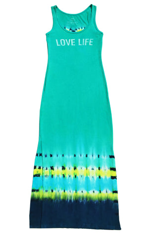 """Love Life"" Turquoise with Yellow Heart Long Dress"