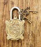 Old Turtle Brass Lock with Keys