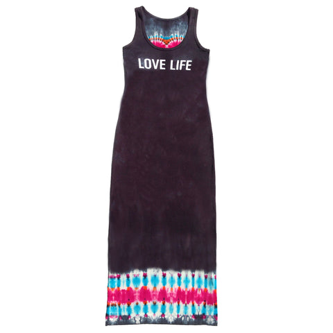 """Love Life Long Dress Black/Fuchsia/Turq"