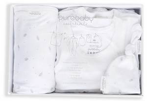 Purebaby Newborn Hospital Pack - Grey Leaf Spot