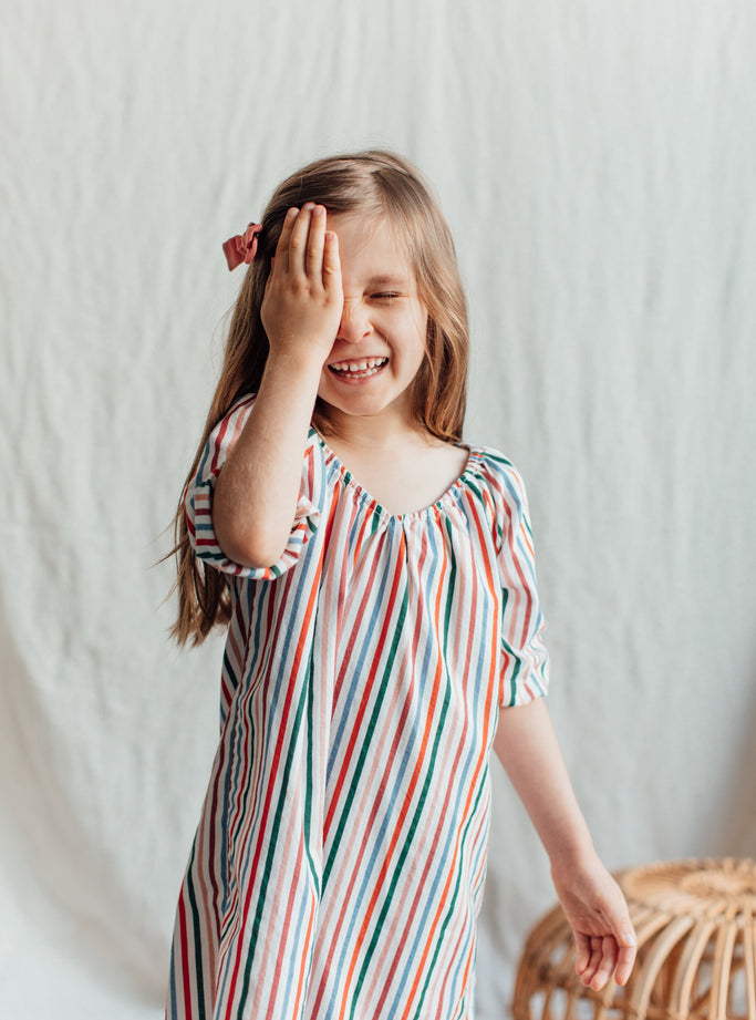 Girl's Colorful Striped Nightgown. Available in Sizes 2T-3T, 4-5, 6-7 and 8-9. Both Long Sleeve and Short Sleeve. 100% Soft Cotton Nightgown for Toddlers and Kids.