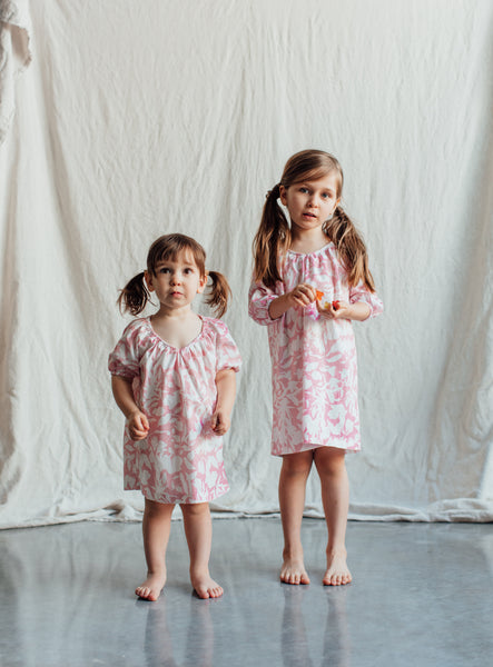 Girl's Pink Nightgown with Floral Print. Sizes 2T-3T and 6-7. Both Long Sleeve and Short Sleeve. 100% Cotton Nightgown for Toddlers and Kids
