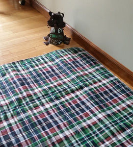 PersonallyPaws.com 34x36 Blue plaid washable Leak Proof Pet pads