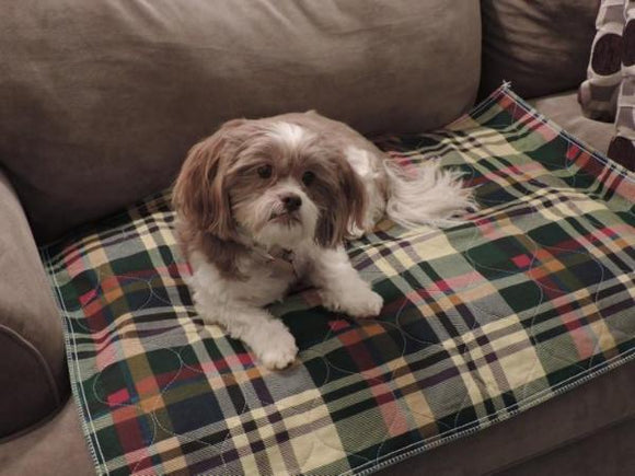 PersonallyPaws Plaid Washable dog potty wee wee pee pad