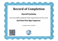 Darrell Is now a certified pool inspector!