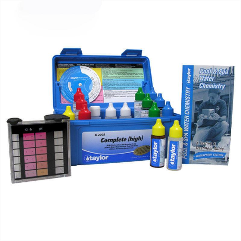 K-2005 Complete kit for Chlorine/Bromine, pH, Alkalinity, Hardness, CYA (DPD–high range) (.75 oz bottles)