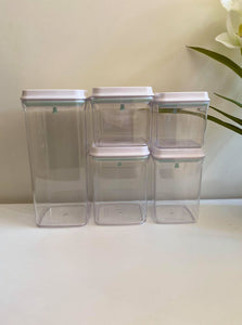 Lux White Push Top Containers- 15 Piece Set & Labels (or Without)