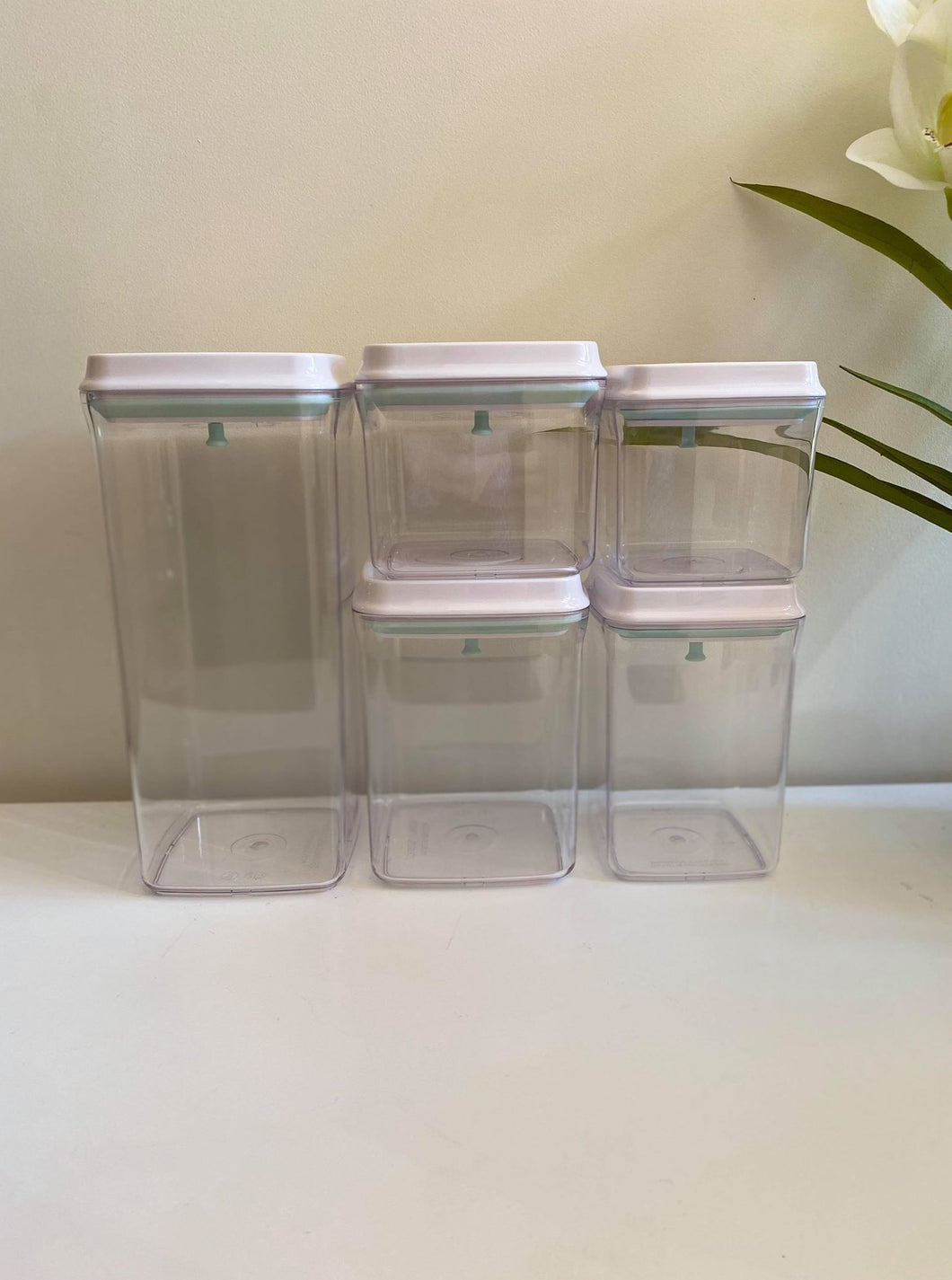 Lux White Push Top Containers- 5 Piece Set & Labels (or Without)