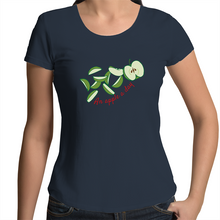 Load image into Gallery viewer, Women's Scoop Neck T-Shirt with AN APPLE A DAY hand drawn logo - svpatterndesigns