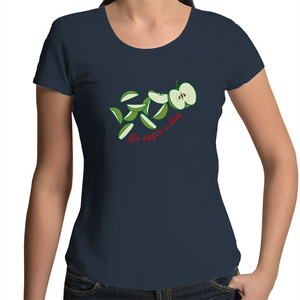 Women's Scoop Neck T-Shirt with AN APPLE A DAY hand drawn logo - svpatterndesigns