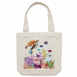 Canvas Tote Bag with UNDERWATER FRIENDS print