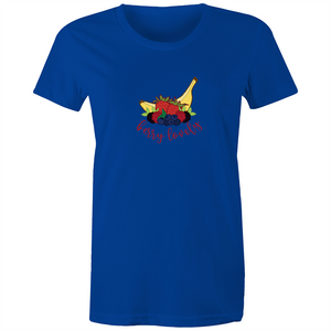 Womens Surf T-shirt with BERRY LOVELY hand drawn logo - svpatterndesigns