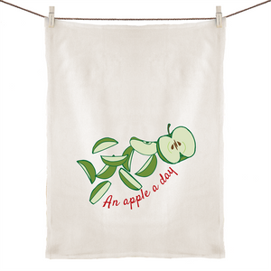 100% Linen Tea Towel with AN APPLE A DAY hand drawn logo - svpatterndesigns