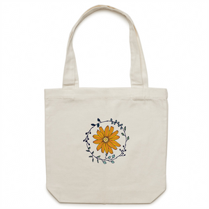 100% Cotton Canvas Tote Bag with FLORAL CIRCLE logo - svpatterndesigns