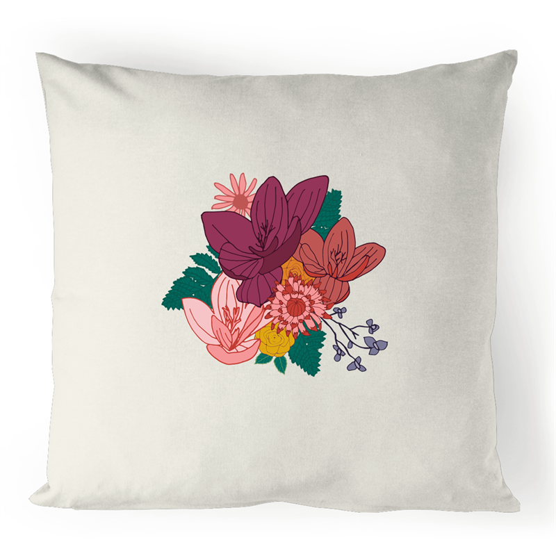 100% Linen Cushion Cover with ELEGANT FLORAL logo - svpatterndesigns