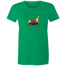 Load image into Gallery viewer, Womens Surf T-shirt with BERRY LOVELY hand drawn logo - svpatterndesigns