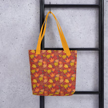 Load image into Gallery viewer, Tote Bag AUTUMN FALLING hand drawn logo with all-over-print - svpatterndesigns