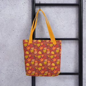 Tote Bag AUTUMN FALLING hand drawn logo with all-over-print - svpatterndesigns