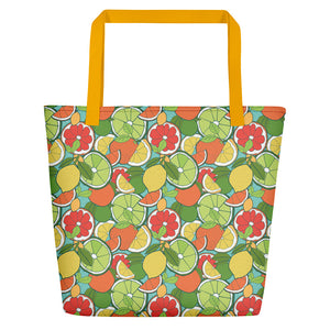 Beach Bag with CITRUS FRUIT repeat pattern - svpatterndesigns