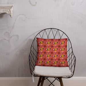 Square cushion on wire chair with pretty autumn flower