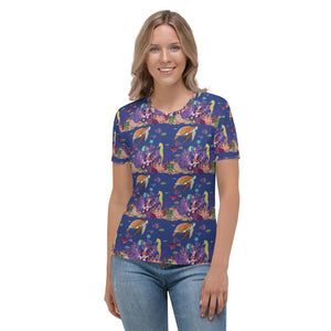 Women's All-Over Print T-shirt UNDERWATER FRIENDS pattern Pattern Designs from drawings by SV Pattern Designs.