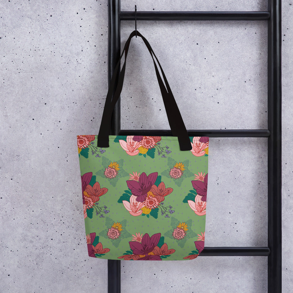 Tote bag with ELEGANT FLORAL PATTERN (Larger Print) - svpatterndesigns