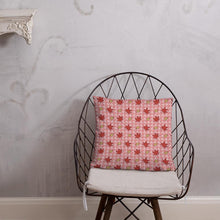 Load image into Gallery viewer, PINK AUTUMN LEAF pattern square pillow on a wire chair.