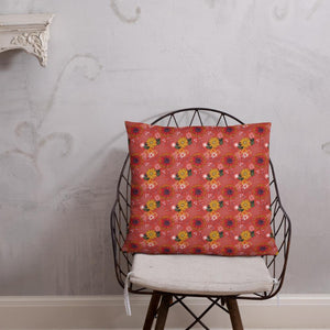 Large square cushion on wire chair with pretty autumn flower