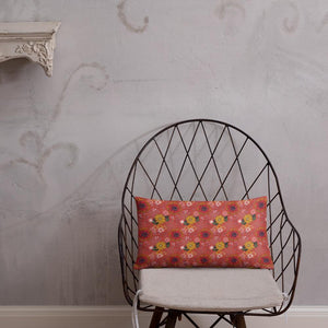 Rectangle cushion on wire chair with pretty autumn flower