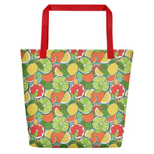 Load image into Gallery viewer, Beach Bag with CITRUS FRUIT repeat pattern - svpatterndesigns