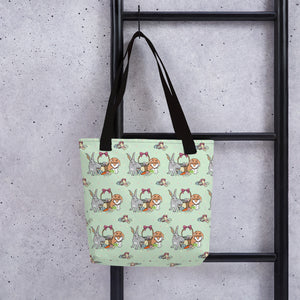 Tote Bag BUNNIES FULLY STOCKED with all-over-print - svpatterndesigns