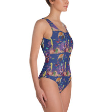 Load image into Gallery viewer, One-Piece Womens Swimsuit UNDERWATER FRIENDS Pattern Designs from drawings by SV Pattern Designs.