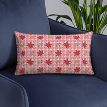 Load image into Gallery viewer, PINK AUTUMN LEAF pattern rectangular pillow on an armchair.