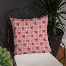 Load image into Gallery viewer, PINK AUTUMN LEAF pattern close-up square pillow on a wire chair.