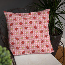 Load image into Gallery viewer, PINK AUTUMN LEAF pattern close up large square pillow on a wire chair.
