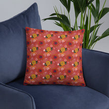 Load image into Gallery viewer, Cushion on armchair with pretty autumn flower