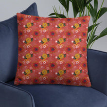 Load image into Gallery viewer, Square cushion on armchair with pretty autumn flower