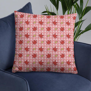 PINK AUTUMN LEAF pattern large square pillow on a armchair.